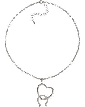 Montana Silversmiths Women's Hooked On You Horseshoe and Heart Necklace, Silver, hi-res