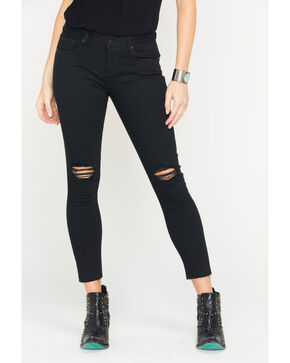 Miss Me Women's Black Destructed Ankle Skinny Jeans , Black, hi-res