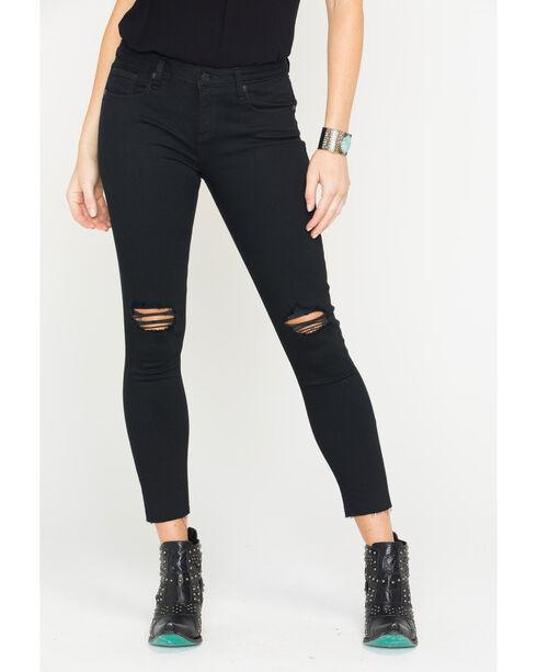 Miss Me Women's Black Destructed Ankle Jeans - Skinny , Black, hi-res