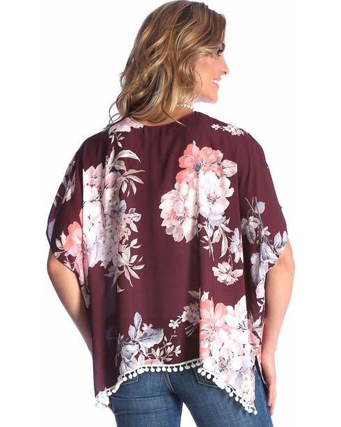 Wrangler Women's Burgundy Floral Print Kimono , Burgundy, hi-res
