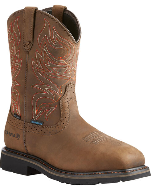 Ariat Men's Brown Sierra Delta H20 Work Boots - Steel Toe , Brown, hi-res