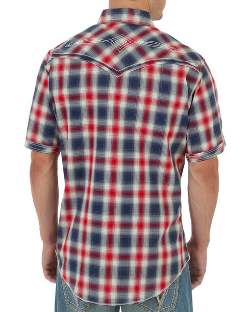 Rock 47 by Wrangler Western Plaid Short Sleeve Shirt, Red, hi-res