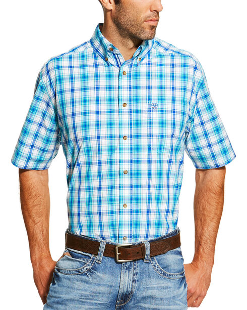 Ariat Men's Turquoise Ira Short Sleeve Shirt - Big and Tall , Turquoise, hi-res
