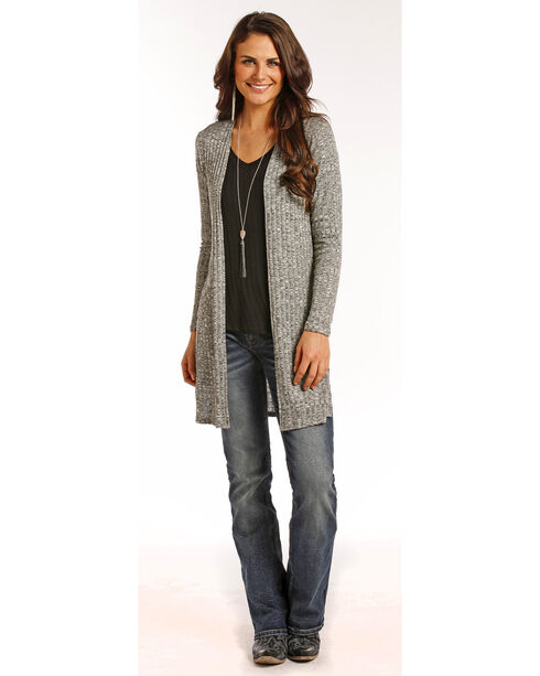 Panhandle Women's Grey Open Front Cardigan , Grey, hi-res