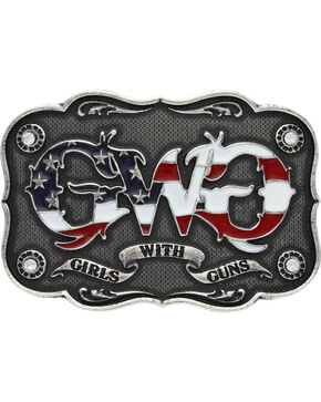 Girls With Guns Scalloped Banner Attitude Belt Buckle, Silver, hi-res