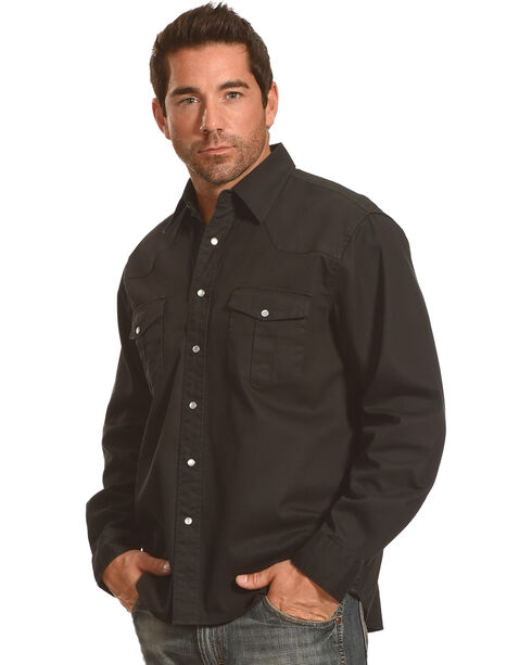 Crazy Cowboy Men's Black Legend Long Sleeve Western Work Shirt , Black, hi-res