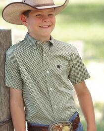 Cinch Boys' Check Patterned Short Sleeve Shirt, , hi-res