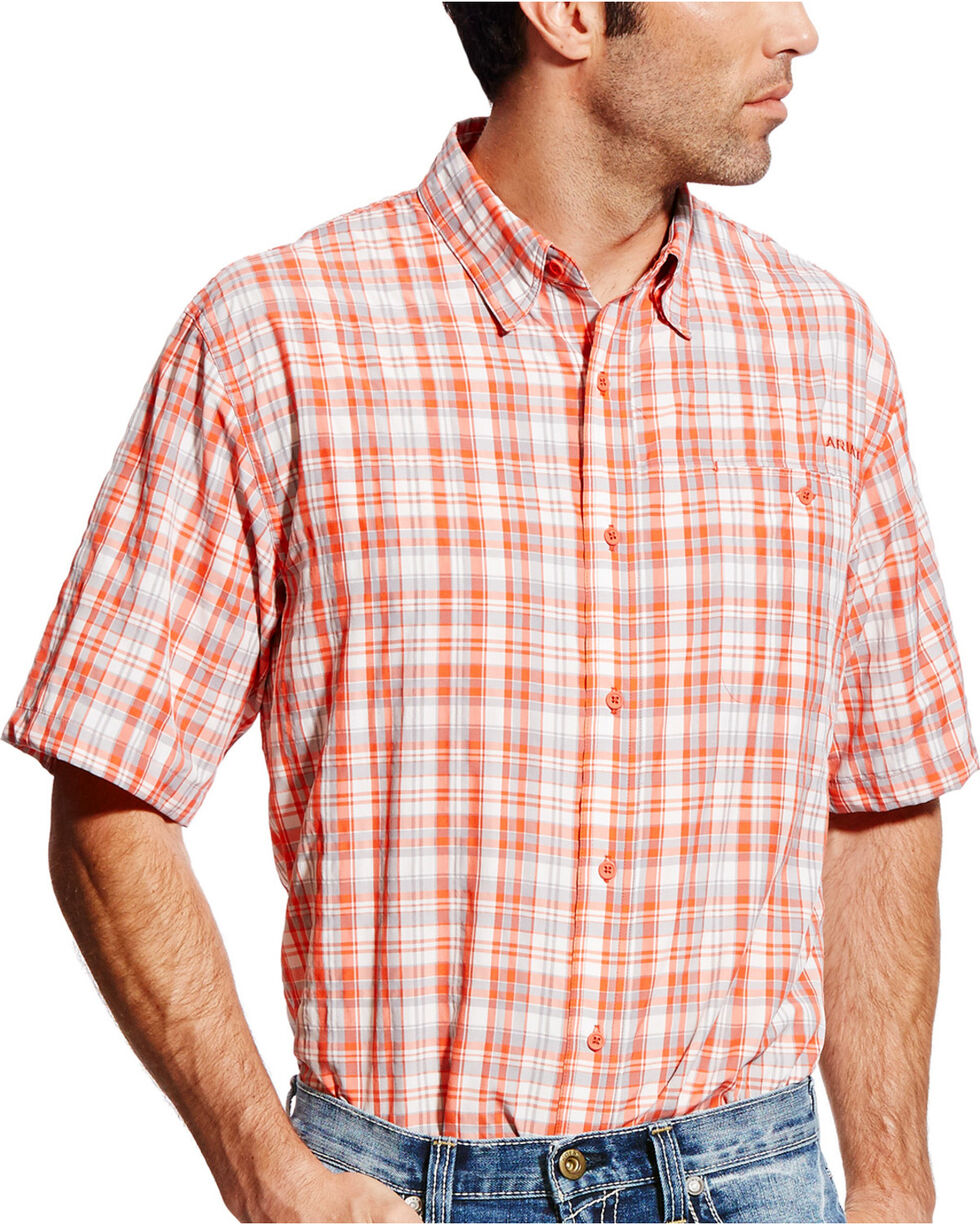 Ariat Men's Coral Plaid VentTEK II Shirt , Coral, hi-res