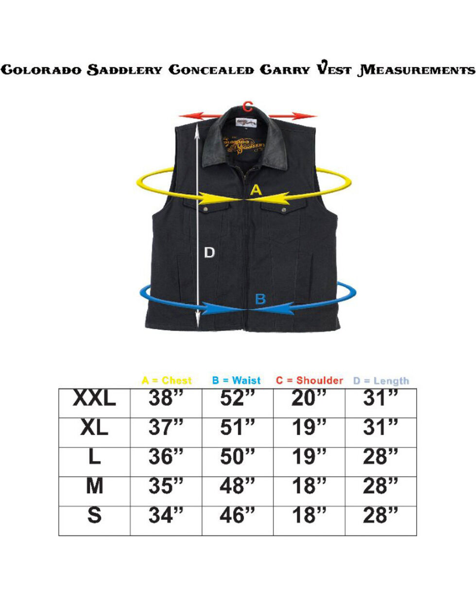 Colorado Saddlery Black Conceal Carry Vest, Black, hi-res