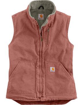 Carhartt Women's Mauve Sandstone Mock-Neck Vest, Mauve, hi-res