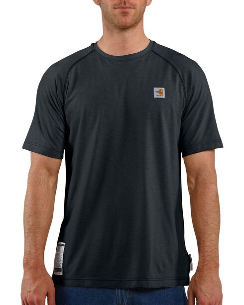Carhartt Flame Resistant Force Short Sleeve Work Shirt, Navy, hi-res