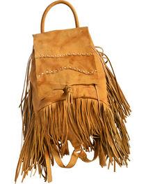 Kobler Leather Khaki Fringed Backpack, , hi-res