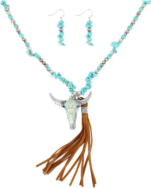 Shyanne® Women's Turquoise Skull and Fringe Jewelry Set, Turquoise, hi-res