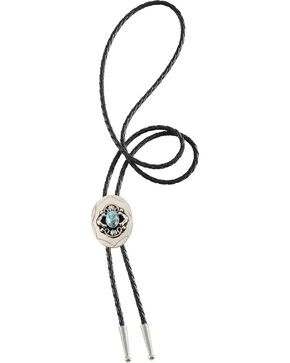 Faux Turquoise Stone Bolo Tie, Silver, hi-res