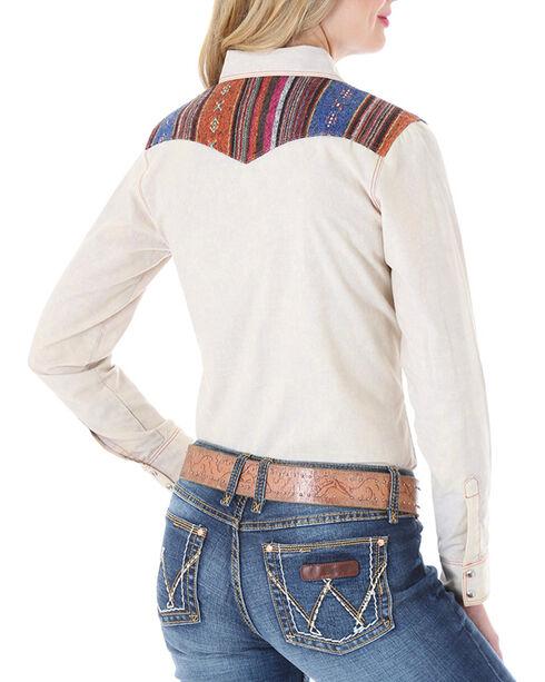 Wrangler Women's Tapestry Long Sleeve Snap Shirt, Tan, hi-res