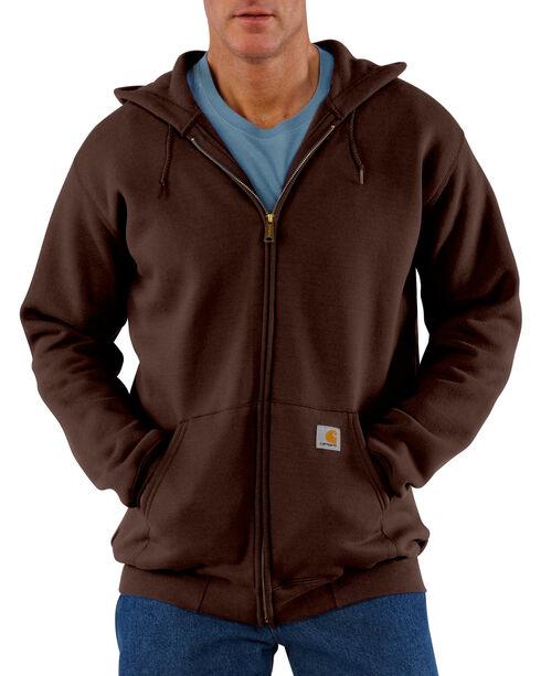 Carhartt Men's Midweight Hooded Zip-Front Sweatshirt, Dark Brown, hi-res
