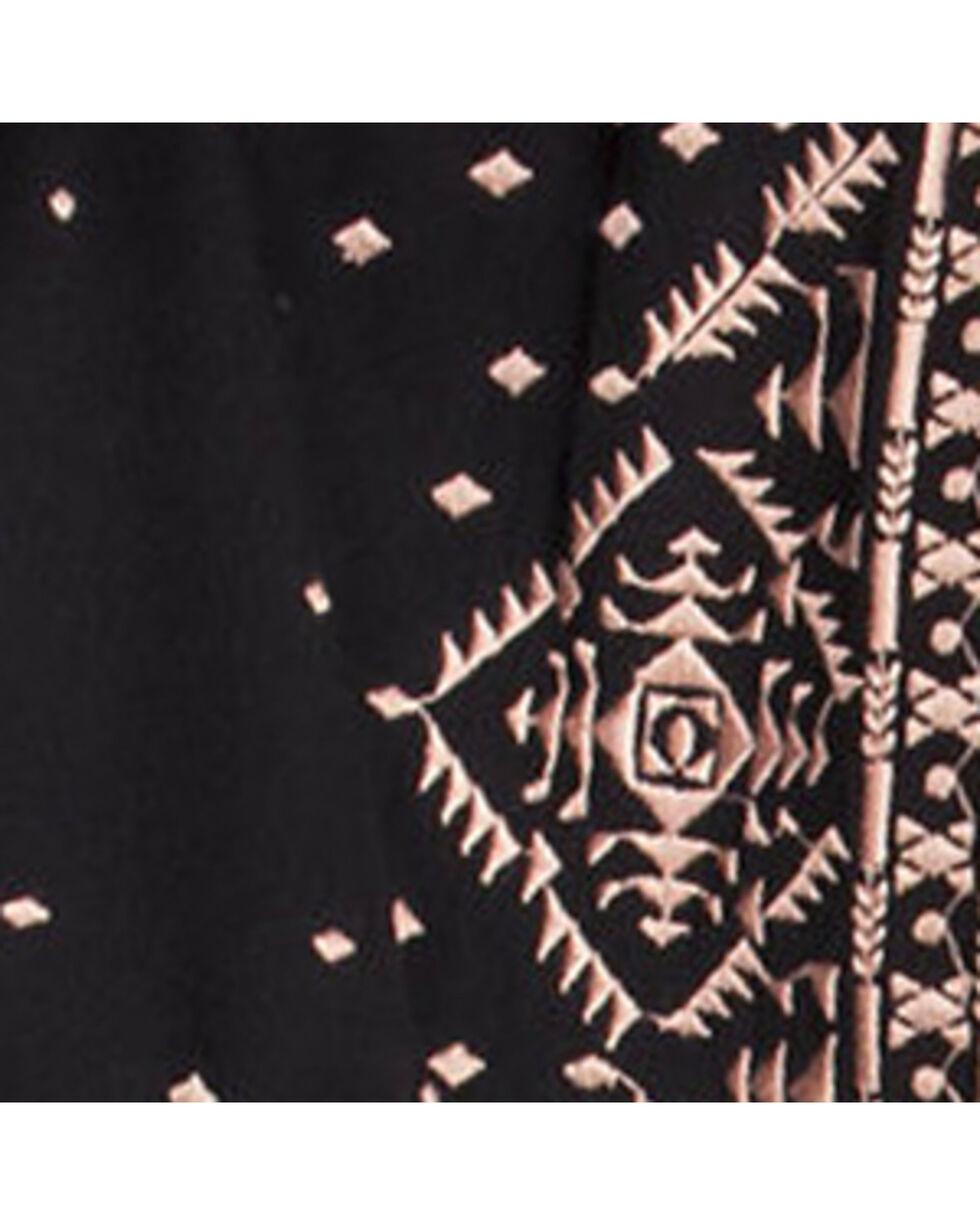 Miss Me Women's Border Printed Open Cardigan, Black, hi-res