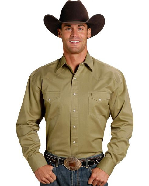 Stetson Snap Twill Western Shirt, Khaki, hi-res