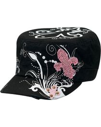 M&F Women's Rhinestone Fleur De Lis Military Hat, , hi-res