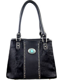 Montana West Trinity Ranch Black Hair-On Leather Collection Handbag, Black, hi-res