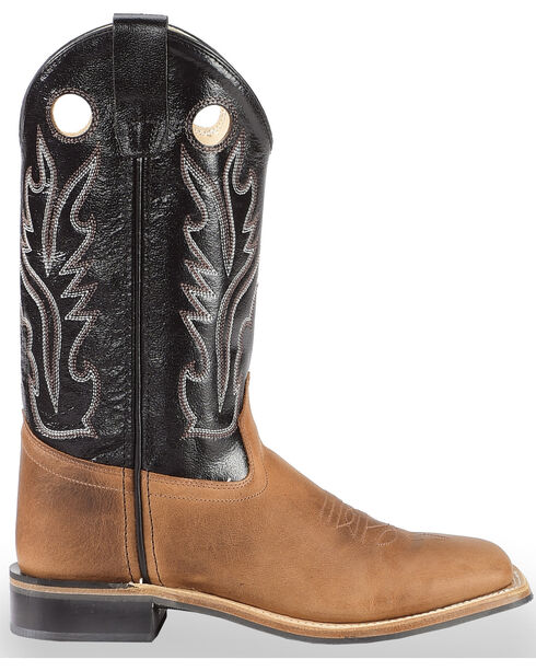 Old West Youth Boy's Light Black Calf Leather Boots - Square Toe , Light Brown, hi-res
