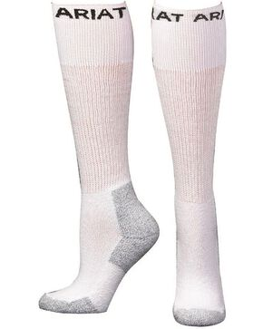 Ariat Men's Over The Calf Socks - 3 Pack, White, hi-res