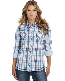 Cowgirl Up Women's Blue Plaid Long Sleeve Shirt, , hi-res