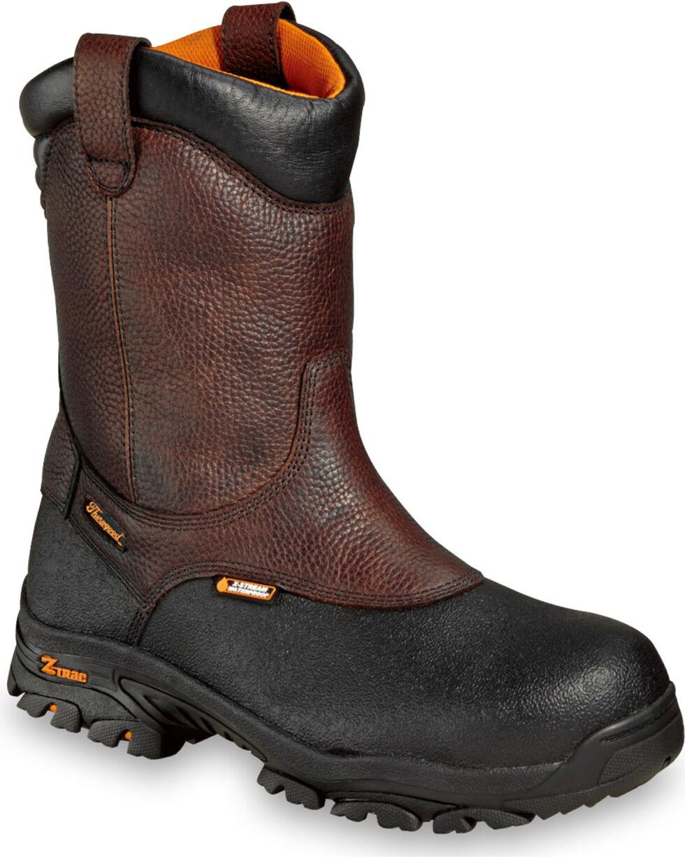 """Thorogood Men's 12"""" Waterproof Metguard Wellington Work Boots - Composite Toe, Brown, hi-res"""