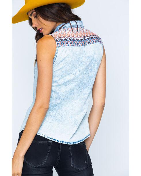 Miss Me Women's Sleeveless Contrast Yoke Western Shirt, Denim, hi-res