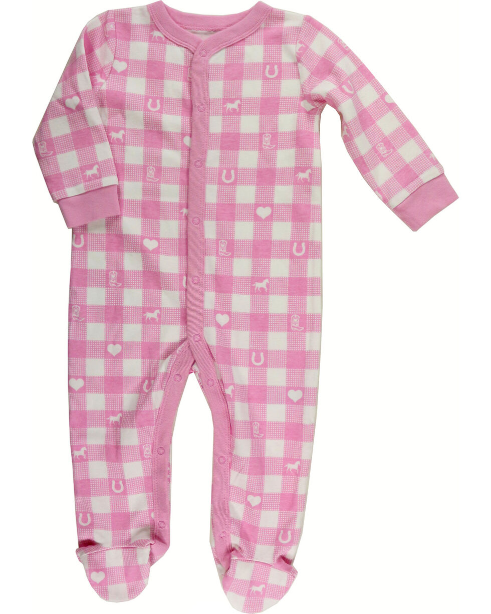 Shyanne Infant Girl's Plaid Knit Onesie, Pink, hi-res