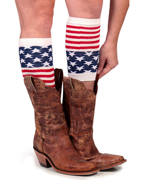 Shyanne® Women's American Flag Boot Cuffs, Multi, hi-res