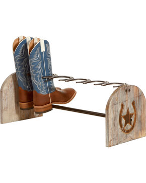 BB Ranch Metal and Wood Boot Rack   , Brown, hi-res