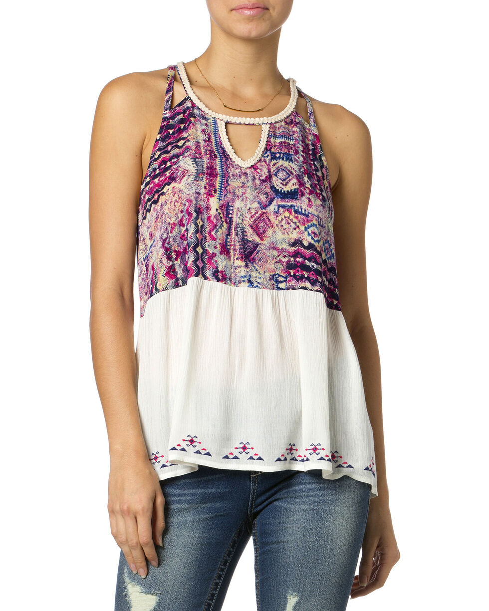 Miss Me Purple Printed Tank Top, Fuchsia, hi-res