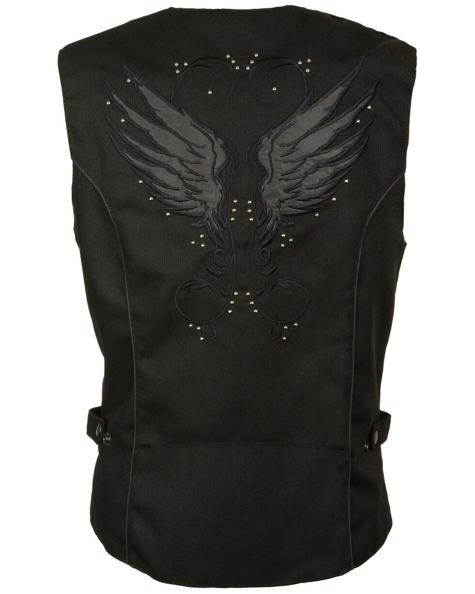 Milwaukee Leather Women's Stud & Wing Embroidered Vest - 5X , , hi-res