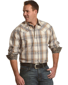 Stetson Men's Grey Ombre Snap Front Western Shirt , Grey, hi-res