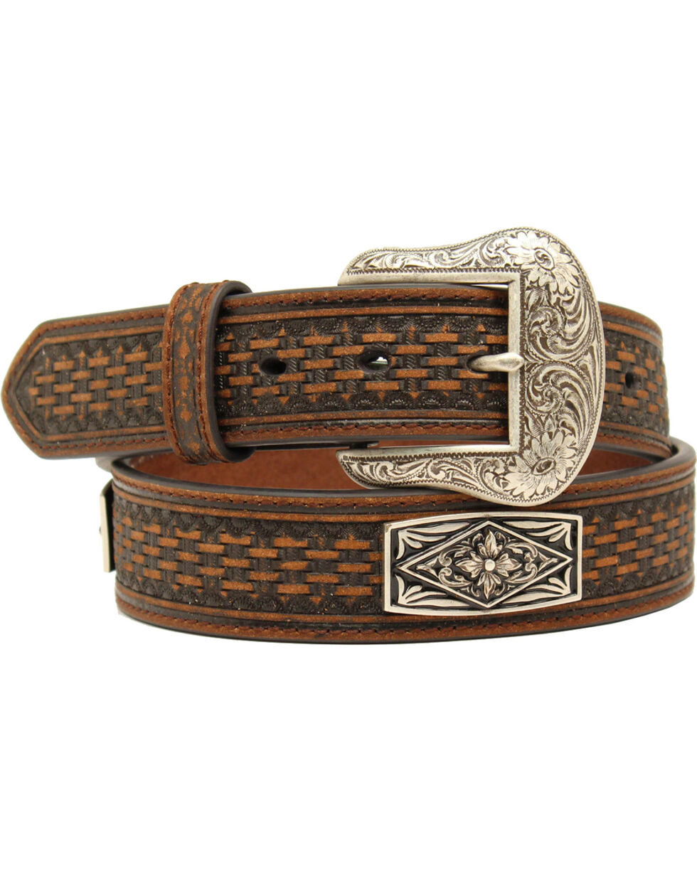 Nocona Men's Embossed Diamond Floral Concho Belt, Brown, hi-res