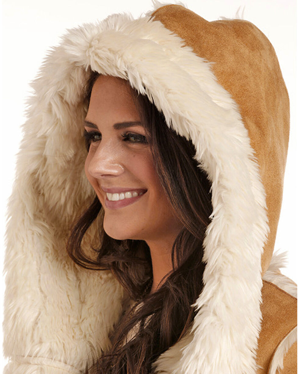Powder River Women's Micro Suede Fur Hooded Jacket, , hi-res