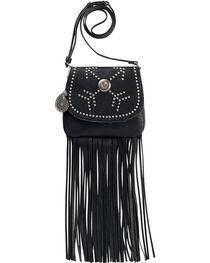 Bandana by American West Austin Black Fringe Flap Wallet Bag , , hi-res