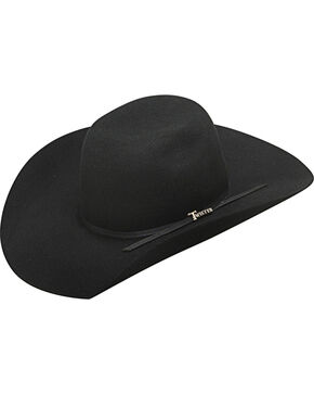 Twister Boys' Wool 2-Cord Black Band Cowboy Hat, Black, hi-res
