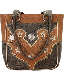 American West Women's Desert Wildflower Zip Top Tote with 3 Outside Pockets, , hi-res