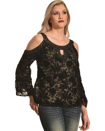 Bila Women's Black Floral Lace Cold Shoulder Top , , hi-res