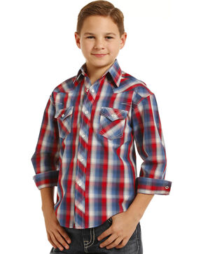 Rock & Roll Cowboy Boys' Plaid Long Sleeve Snap Shirt, Red/white/blue, hi-res