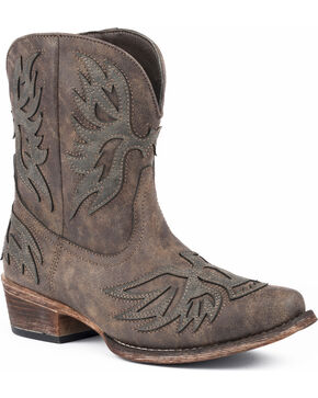 Roper Women's Amelia Eagle Overlay Short Western Boots - Snip Toe, Brown, hi-res