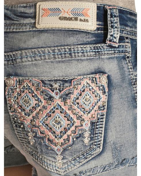 Grace in LA Aztec Embroidered Cutoff Shorts, Denim, hi-res