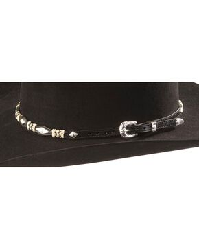 Rawhide & Concho Black Leather Hat Band, Black, hi-res