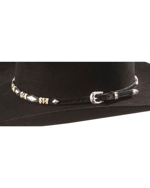Rawhide & Concho Black Leather Hat Band, Black, hi-res