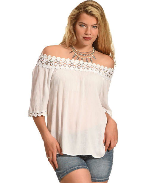 Bila Women's On/Off Shoulder Top , White, hi-res