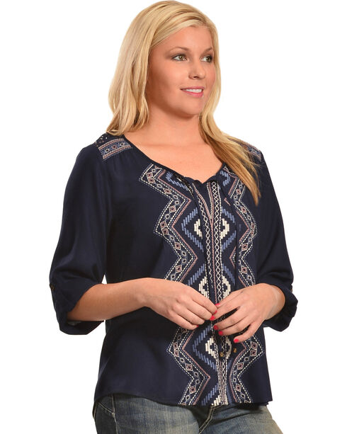 Tantrums Women's Hi-Lo Embroidered Lace Shirt , Navy, hi-res