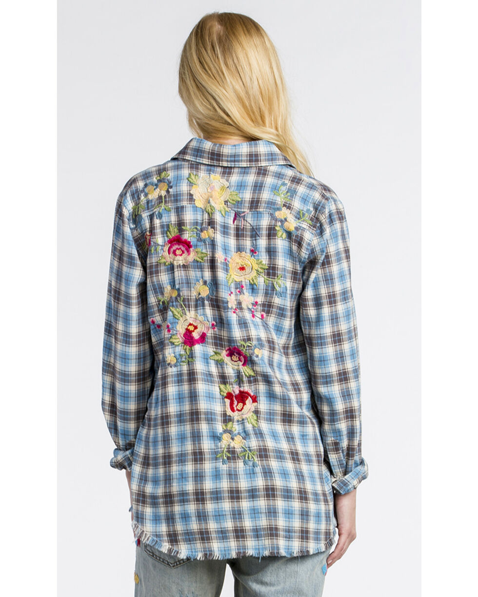 MM Vintage Women's Floral Embroidered Plaid Shirt , Blue, hi-res