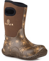 Roper Boys' Spidy Western Rubber Barn Boots - Round Toe, , hi-res
